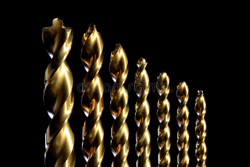 kawałków świderu złoto fotografia royalty free
