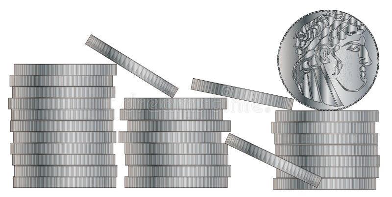 30 kawałków srebro ilustracja wektor