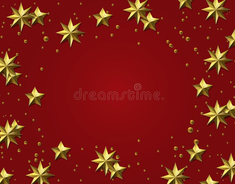 kawałków tło Złocisty liść Gwiazdy na czerwonym tle więcej toreb, Świąt oszronieją Klaus Santa niebo ilustracja royalty ilustracja