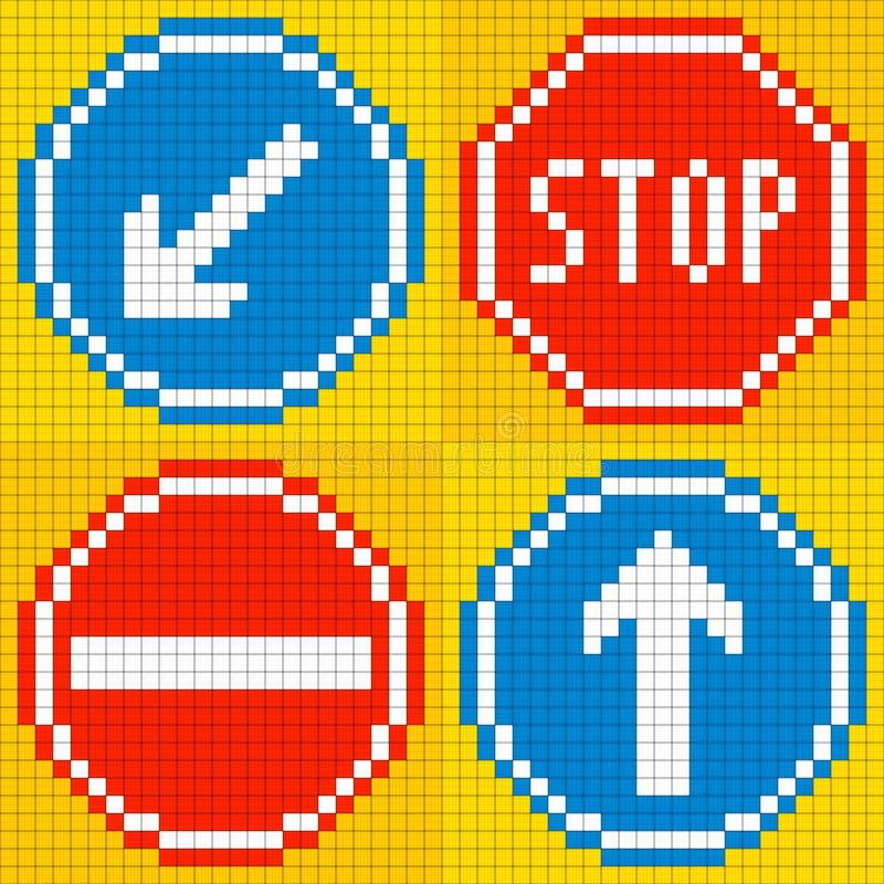 kawałka piksla drogowego ruchu drogowego znaki royalty ilustracja