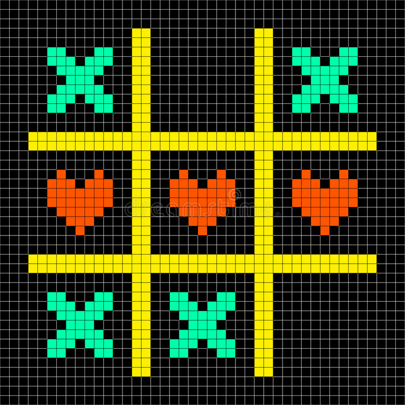 kawałka piksla sztuki Tic Tac palec u nogi Z buziakami i miłości serca symbolami royalty ilustracja
