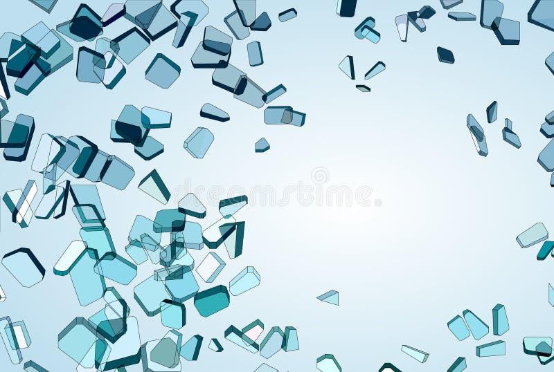 Kawałki Łamany lub Zniweczony błękitny szkło royalty ilustracja