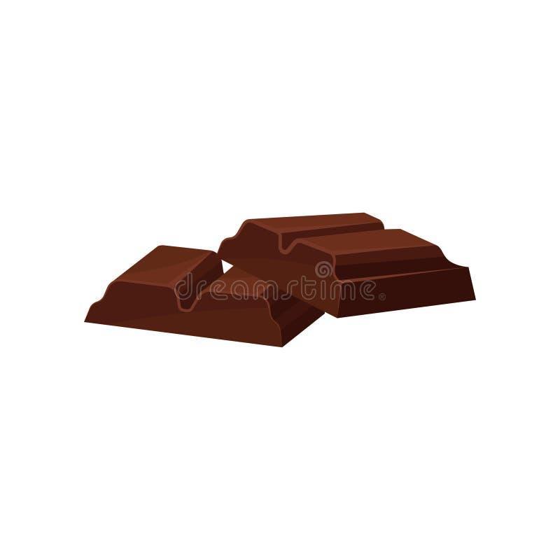 Kawałki ciemna czekoladowa wektorowa ilustracja na białym tle royalty ilustracja