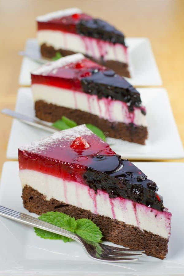 Kawałki domowej roboty lasu owoc tort obraz stock