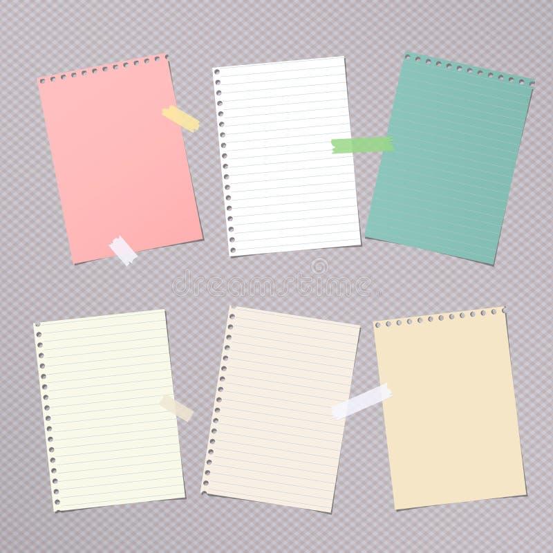 Kawałki różna wielkościowa kolorowa notatka, notatnik, copybook papier ciąć na arkusze royalty ilustracja