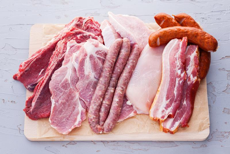 Kawałki różny świeży mięso zdjęcie stock