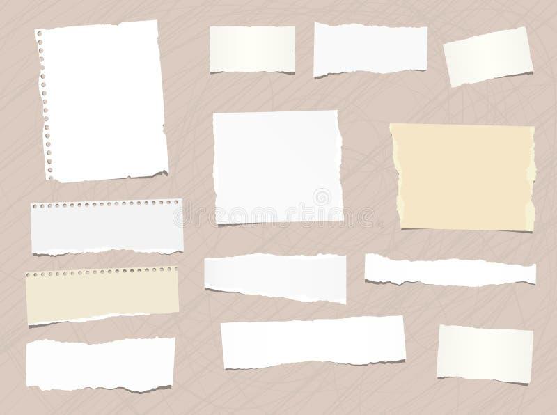 Kawałki różny rozmiar rozdzierająca notatka, notatnik, copybook papier wtykali brown tło ilustracji