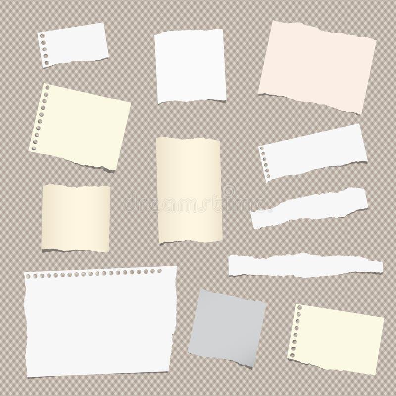 Kawałki różny rozmiar rozdzierająca notatka, notatnik, copybook papieru prześcieradła wtykali na ciosowym wzorze ilustracja wektor
