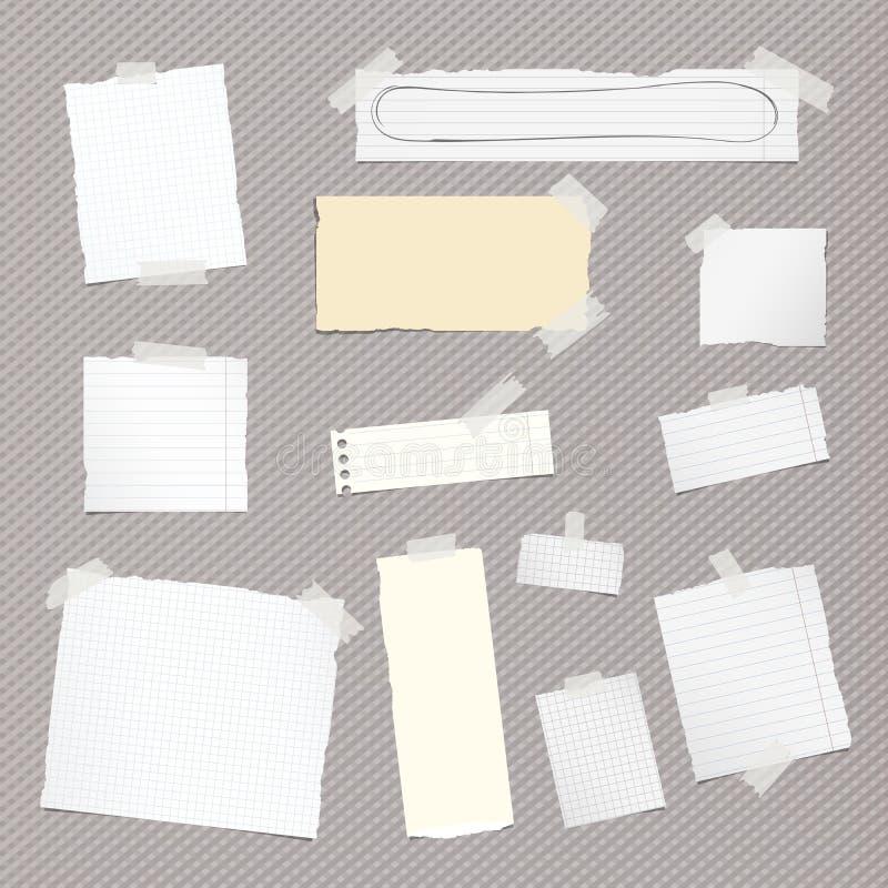 Kawałki różny rozmiar rozdzierająca notatka, notatnik, copybook papieru prześcieradła wtykali z kleistą taśmą na ciosowym wzorze ilustracji