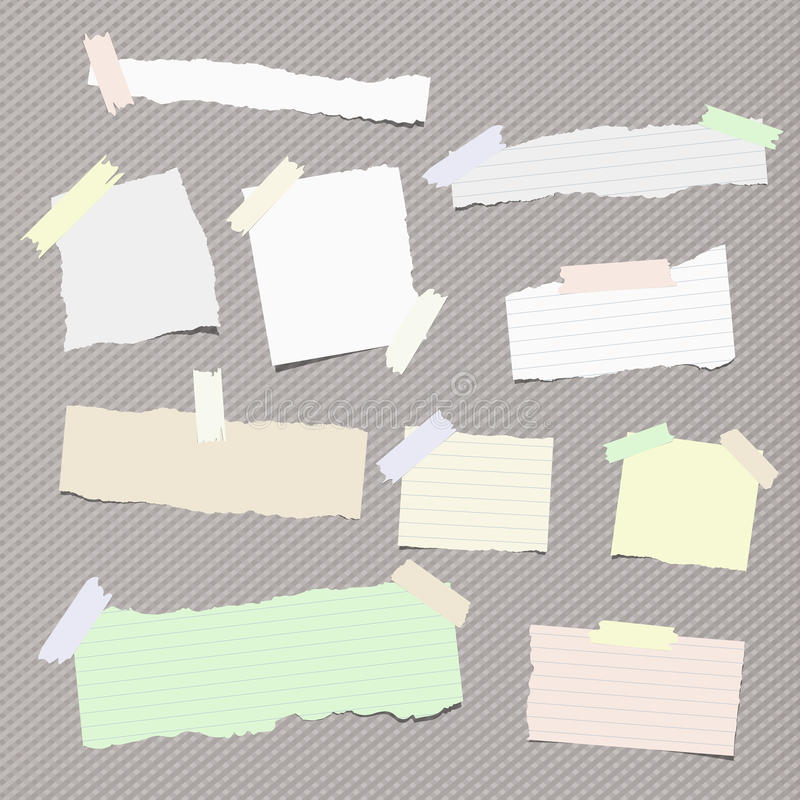 Kawałki różny rozmiar rozdzierająca notatka, notatnik, copybook papieru prześcieradła wtykali z kleistą taśmą na ciosowym wzorze ilustracja wektor