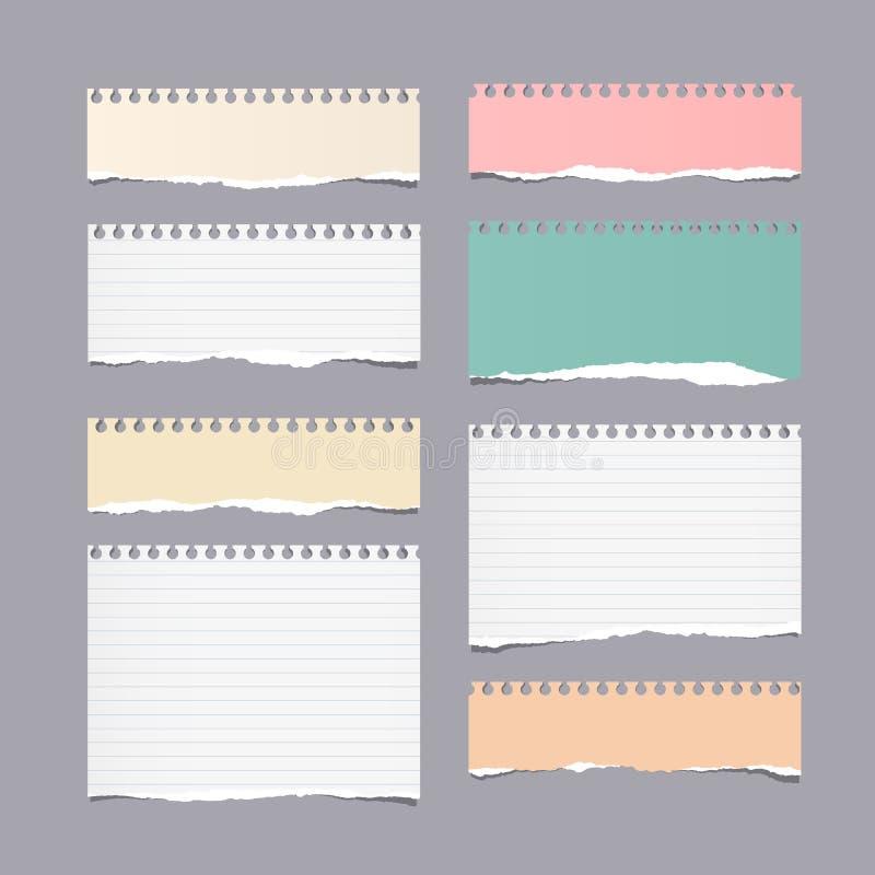 Kawałki rozdzierająca różna wielkościowa kolorowa notatka, notatnik, copybook papier ciąć na arkusze royalty ilustracja