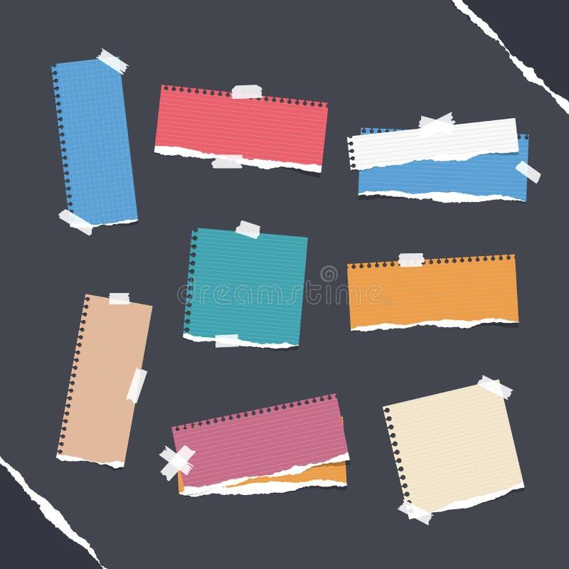 Kawałki rządzący różny rozmiar i pusta kolorowa notatka, notatnik, copybook papieru prześcieradła, paski wtykali z kleistą taśmą ilustracja wektor