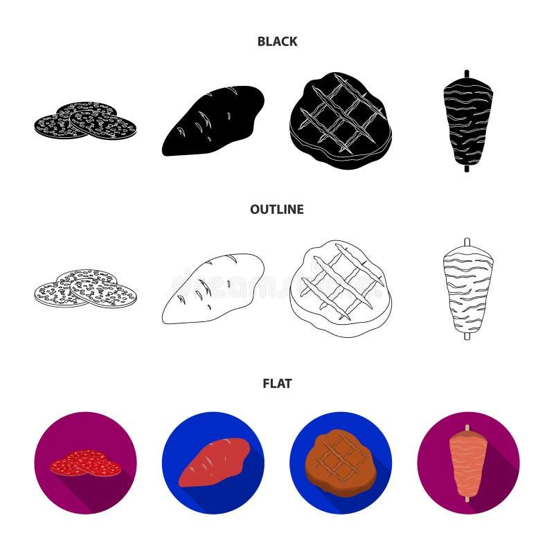 Kawałki salami, indyk polędwicowy, piec na grillu stek, kebab Mięso ustalone inkasowe ikony w czarnym, płaski, konturu stylowy we ilustracji