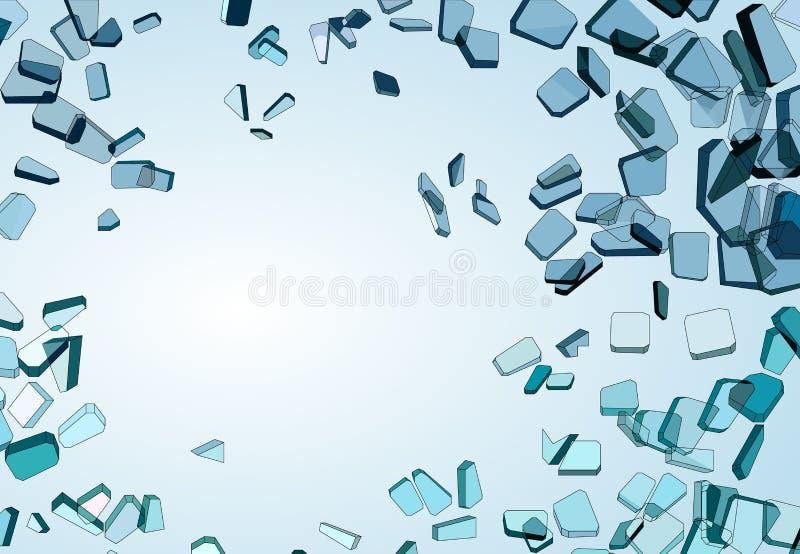 Kawałki wyburzający lub Rozbijający błękitny szkło royalty ilustracja