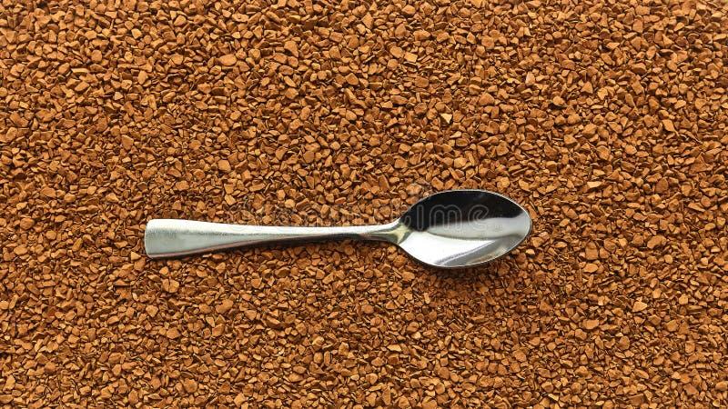 Kawa Łyżka z natychmiastową kawą, cutlery, śniadanie, suchy aromatyczny napój fotografia royalty free