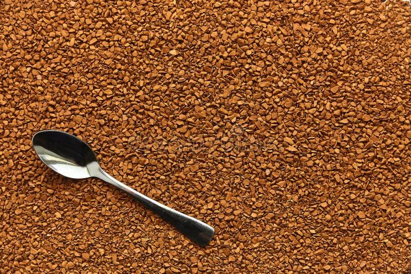 Kawa Łyżka z natychmiastową kawą, cutlery, śniadanie, suchy aromatyczny napój obrazy stock