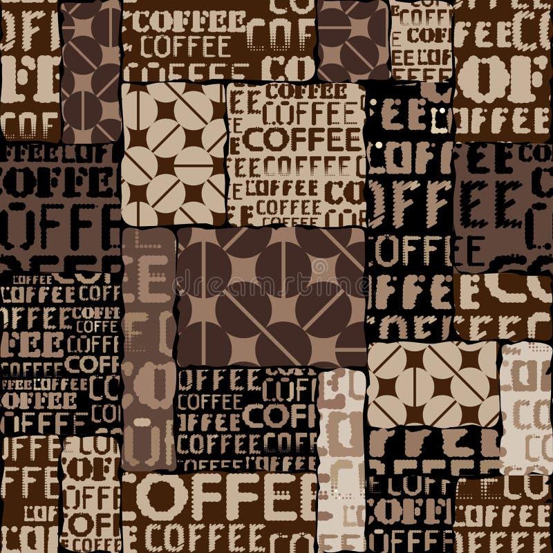 Kawa Abstrakcjonistyczne kawowe fasole na brown tle ilustracji