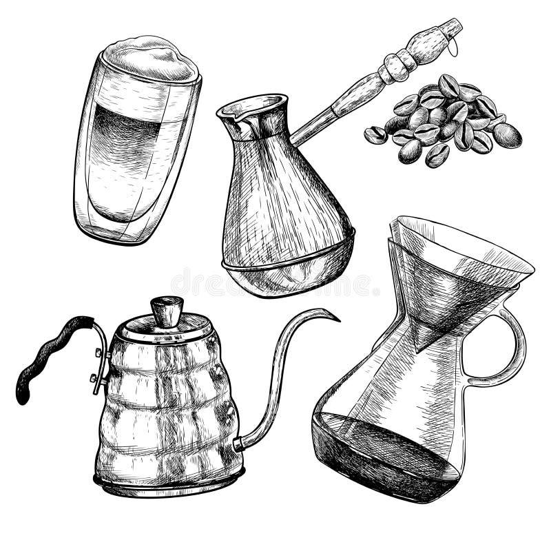 kawa biel odosobniony ustalony Ręka rysujący kawowi producenci ustawiający Cezve, nalewa, kawowy czajnik i szkło filiżanka Wektor ilustracja wektor