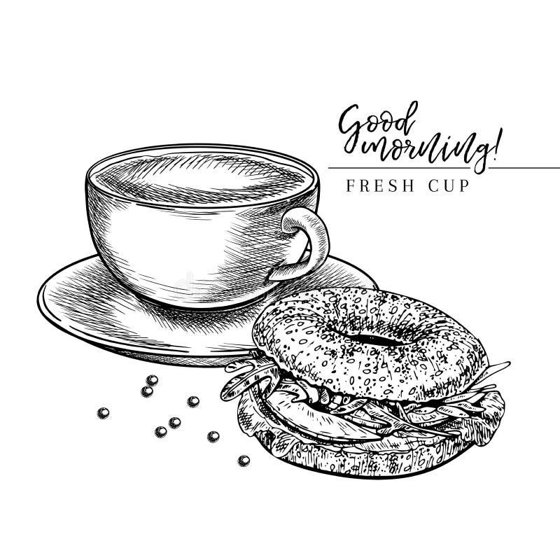 kawa biel odosobniony ustalony Wręcza patroszoną filiżankę i bagel Śniadaniowa piekarnia z kawą Wektor graweruj?ca ikona ilustracja wektor