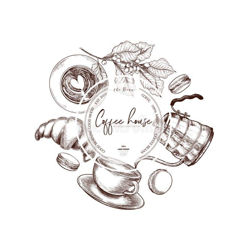 kawa biel odosobniony ustalony Wręcza patroszone filiżanki, croiisant, czajnik, kulebiak, ostrzarz, macaronii, adra Wektorowe roc ilustracja wektor