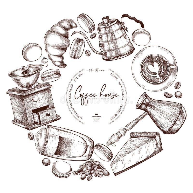 kawa biel odosobniony ustalony Wręcza patroszone filiżanki, croiisant, czajnik, kulebiak, ostrzarz, macaronii, adra Wektorowe roc ilustracji