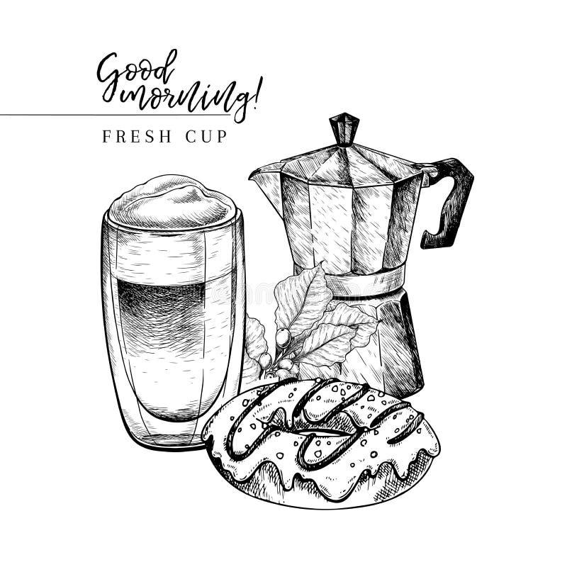 kawa biel odosobniony ustalony Wręcza patroszonego kawowego gejzer, moca, szklana filiżanka lub piekarnia pączek, Wektor graweruj royalty ilustracja