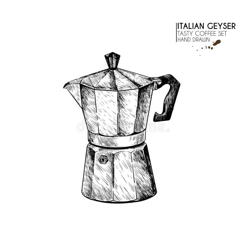kawa biel odosobniony ustalony Wręcza patroszonego kawowego gejzer, włoska mokka, anchient wyposażenie dla kawy espresso Wektor g ilustracja wektor