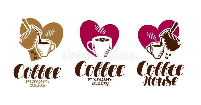 Kawa, coffeehouse etykietki set Kawiarnia, bufet, gorący napoju logo lub ikona, Ręcznie pisany literowanie wektoru ilustracja royalty ilustracja