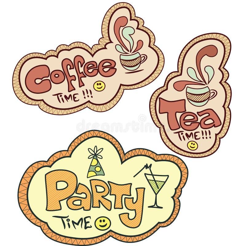 kawa czas partyjny herbaciany ilustracja wektor