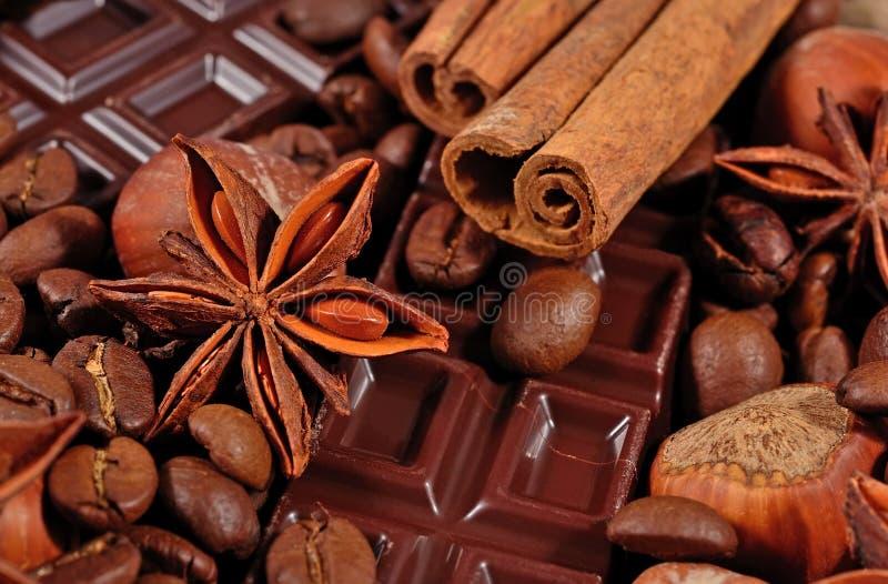 Kawa, czekolada, gwiazdowy anyż, cynamonowi kije i hazelnuts, zdjęcia royalty free