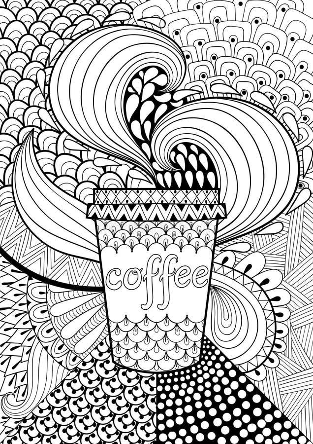 Kawa deseniujący tło dla dorosłej kolorystyki książki ręka patroszona royalty ilustracja