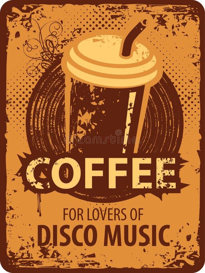 Kawa dla kochanków dyskoteki muzyka royalty ilustracja