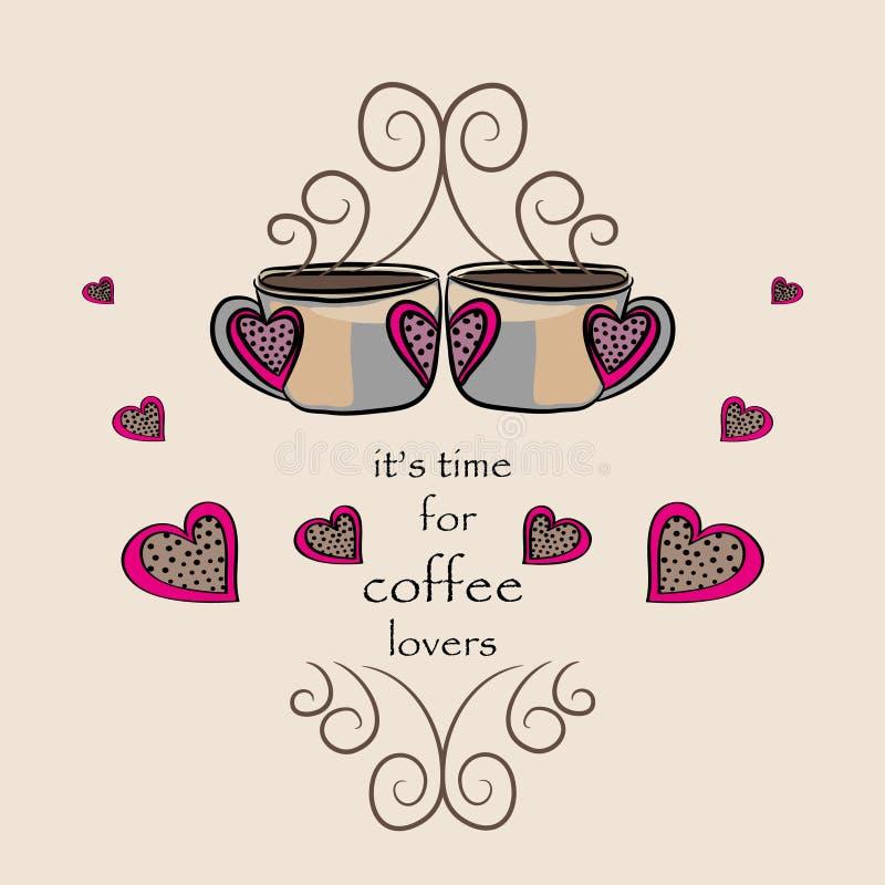Kawa dla kochanków, Wektorowa ilustracja dwa kawy z sercami ilustracji