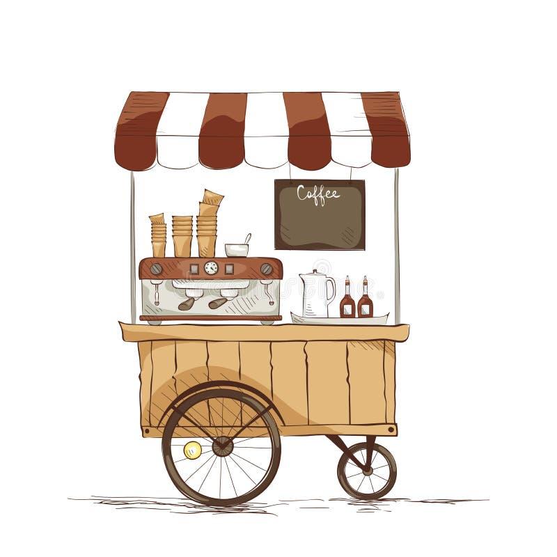 Kawa dom na kołach ilustracja wektor
