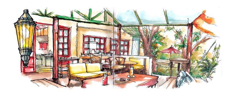 Kawa domu ogródu ilustracja ilustracja wektor