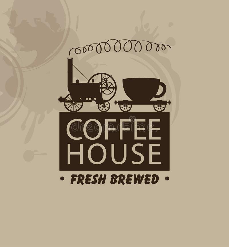 Kawa domy z rocznik parową lokomotywą ilustracji