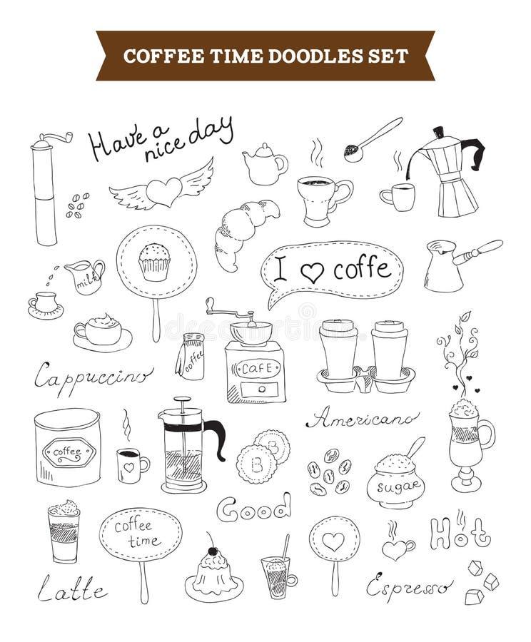 Kawa doodles wektorowych elementy ilustracja wektor