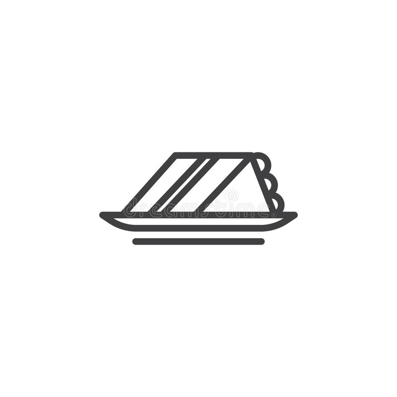 Kawa?ek tort linii ikona ilustracja wektor