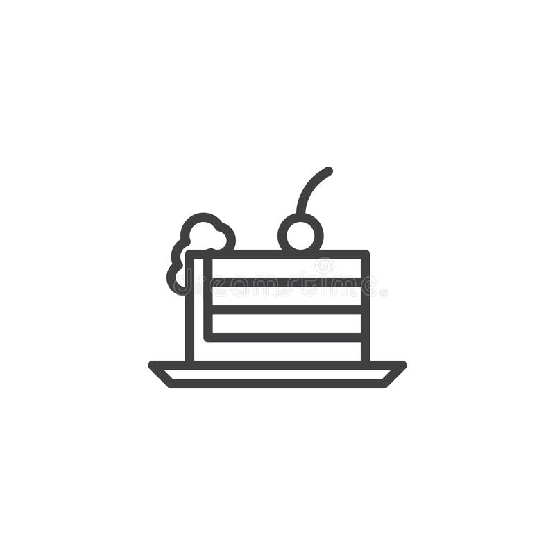 Kawa?ek tort z wi?ni linii ikon? royalty ilustracja