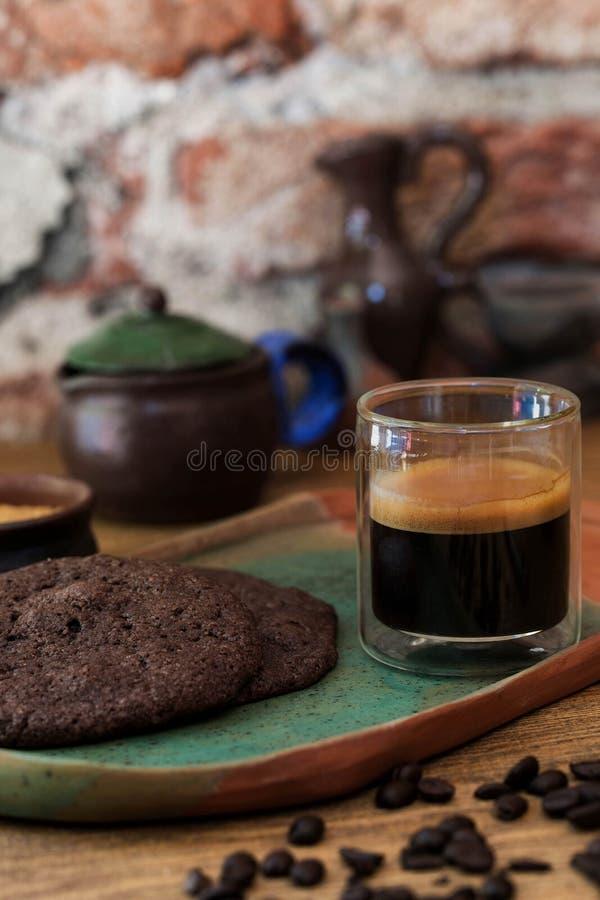 Kawa espresso strzału szkło fotografia stock