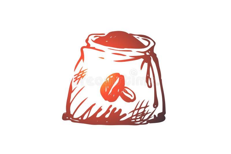 Kawa, fasole, worek, piec, nasieniodajny pojęcie, Ręka rysujący odosobniony wektor ilustracja wektor