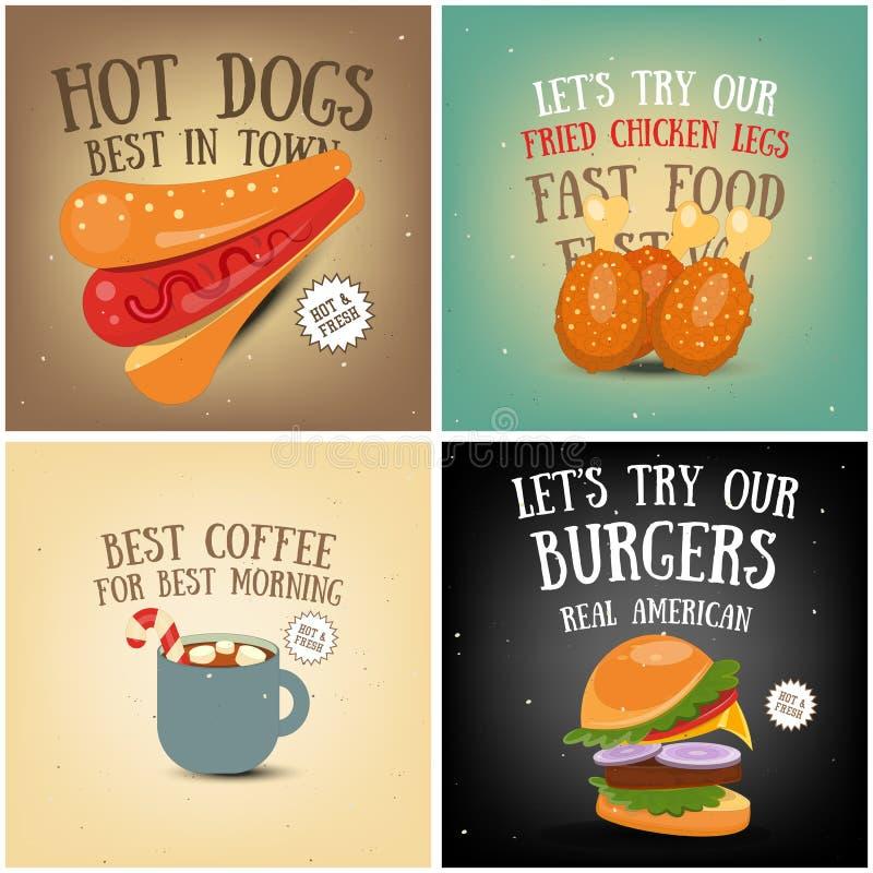 Kawa, fast food, lodów plakaty royalty ilustracja