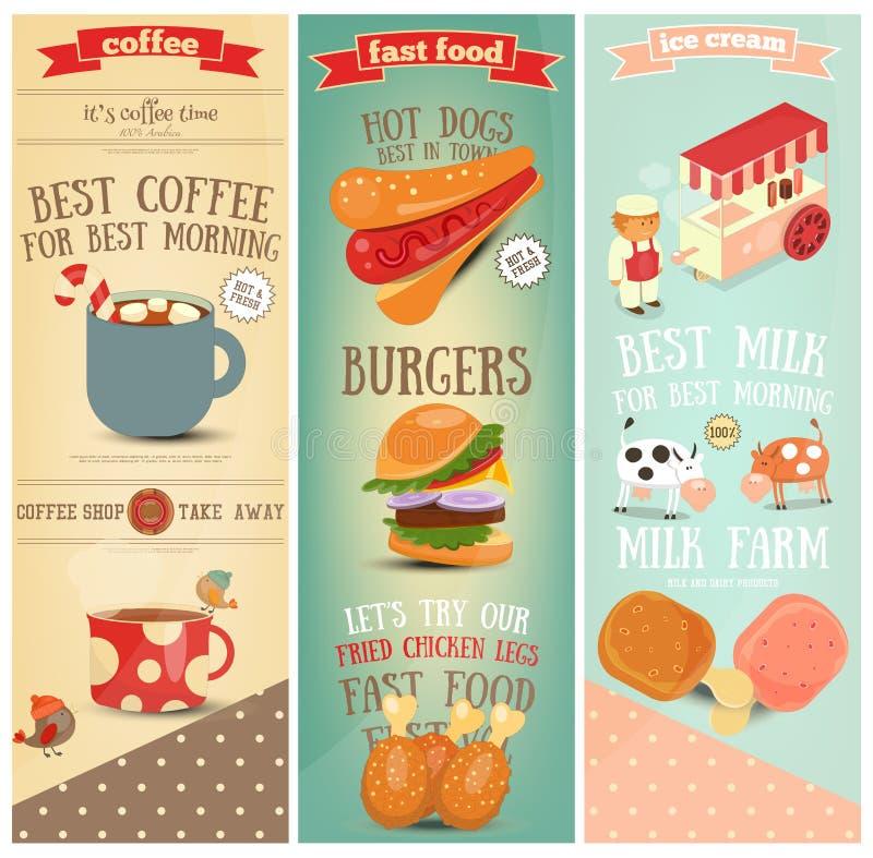 Kawa, fast food, lodów sztandary royalty ilustracja
