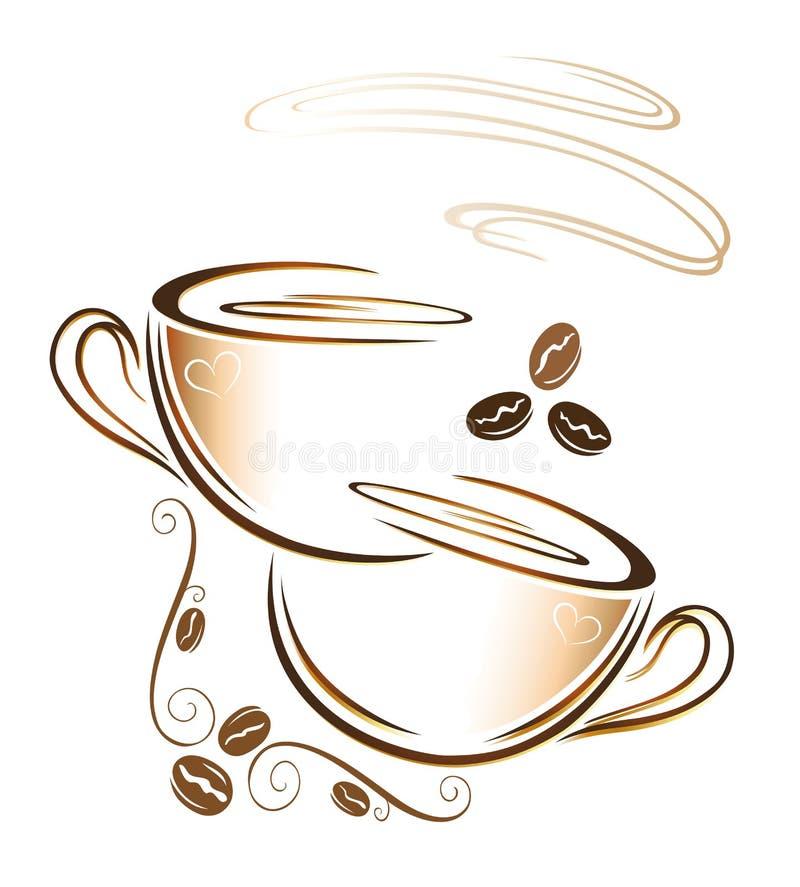 Kawa, filiżanka, kawowe fasole ilustracji