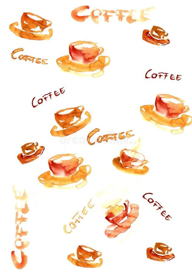 kawa hanpainted tła ilustracja ilustracja wektor