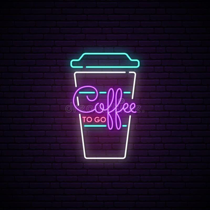 Kawa iść neonowy znak ilustracji