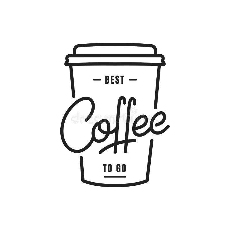 Kawa Kawa iść pisać list ilustrację Kawowy etykietki odznaki emblemat ilustracja wektor