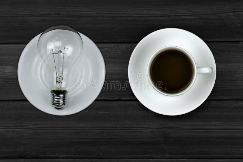 Kawa i żarówki obraz royalty free