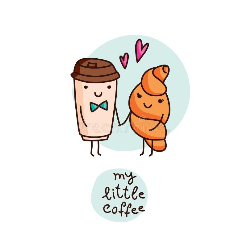 Kawa i croissant, śliczna kreskówka wektoru karta ilustracji