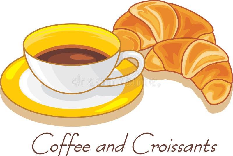Kawa i croissants odizolowywający na bielu royalty ilustracja